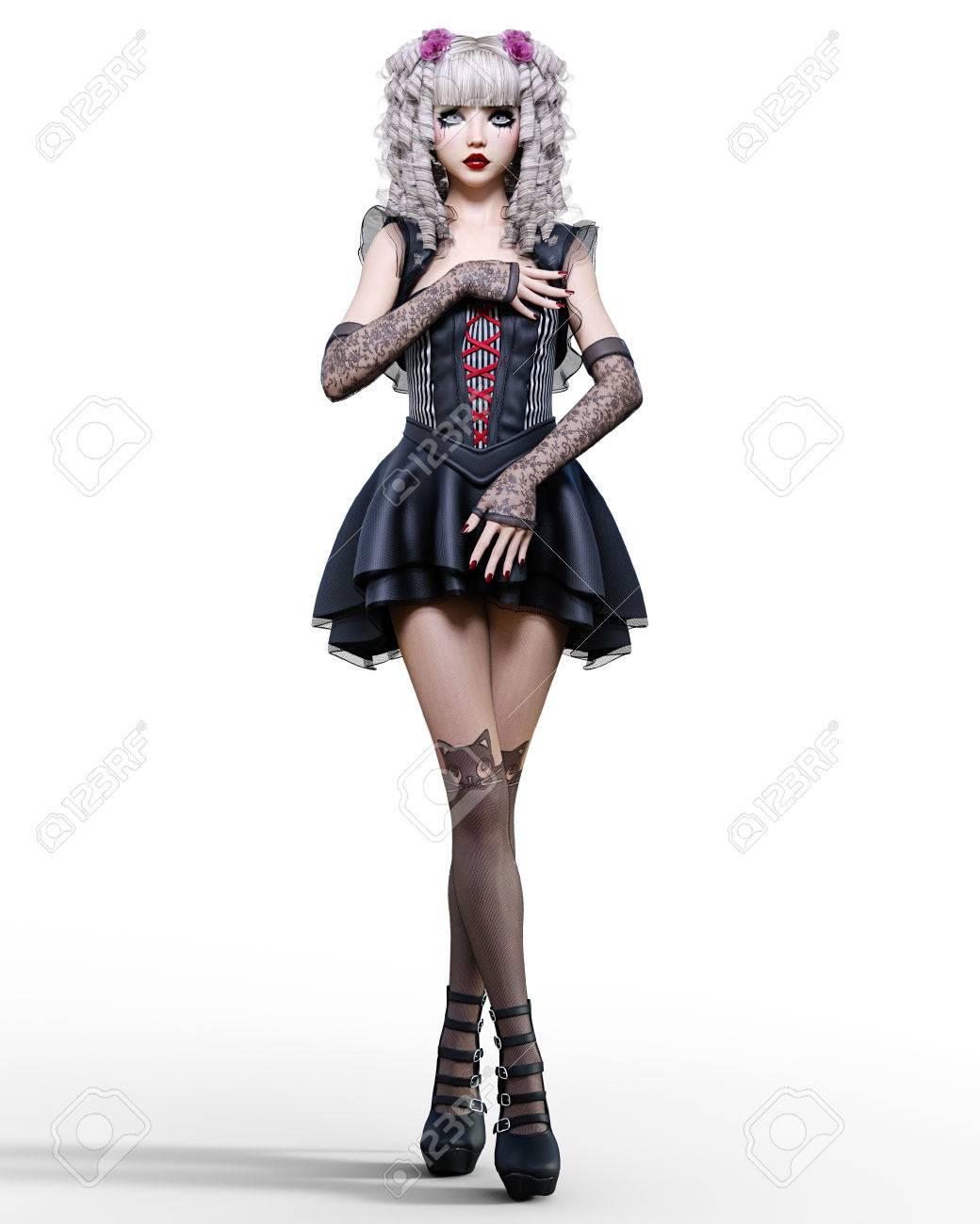 ca0992b5a Foto de archivo - Hermosa joven mujer gótica posando sesión de fotos.  Vestido negro corto, medias oscuras, zapatos. Cabello largo y rubio.