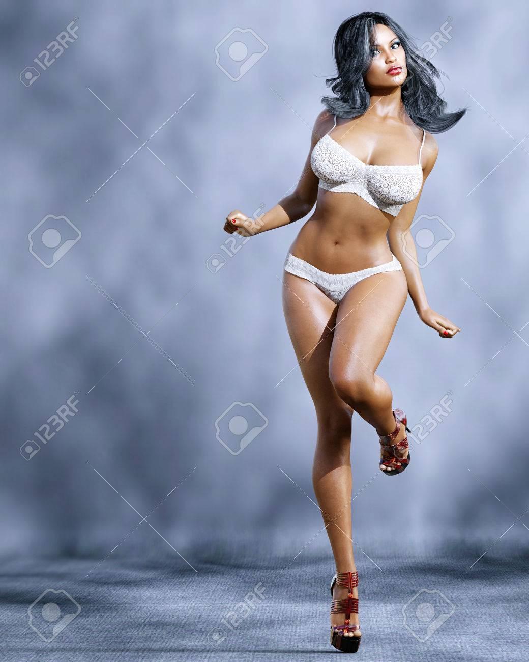 dec8898e07b65 High sexy mulatto woman in lingerie. Bra and panties. Conceptual fashion art.  Blue
