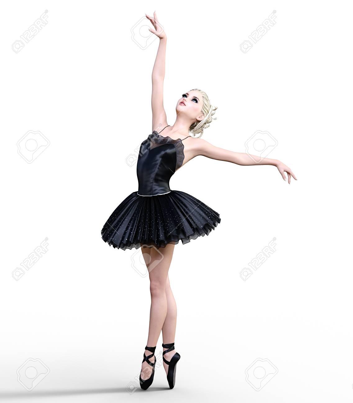 dancing ballerina 3d black ballet tutu blonde girl with blue