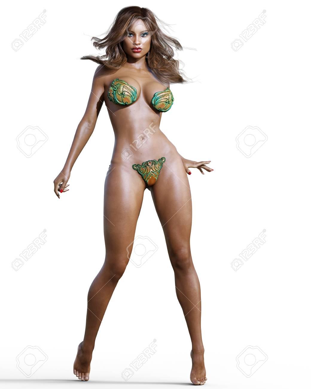efbef254fb480 Tall sexy woman in minimalist futuristic lingerie. Metal bra and panties.  Conceptual fashion art