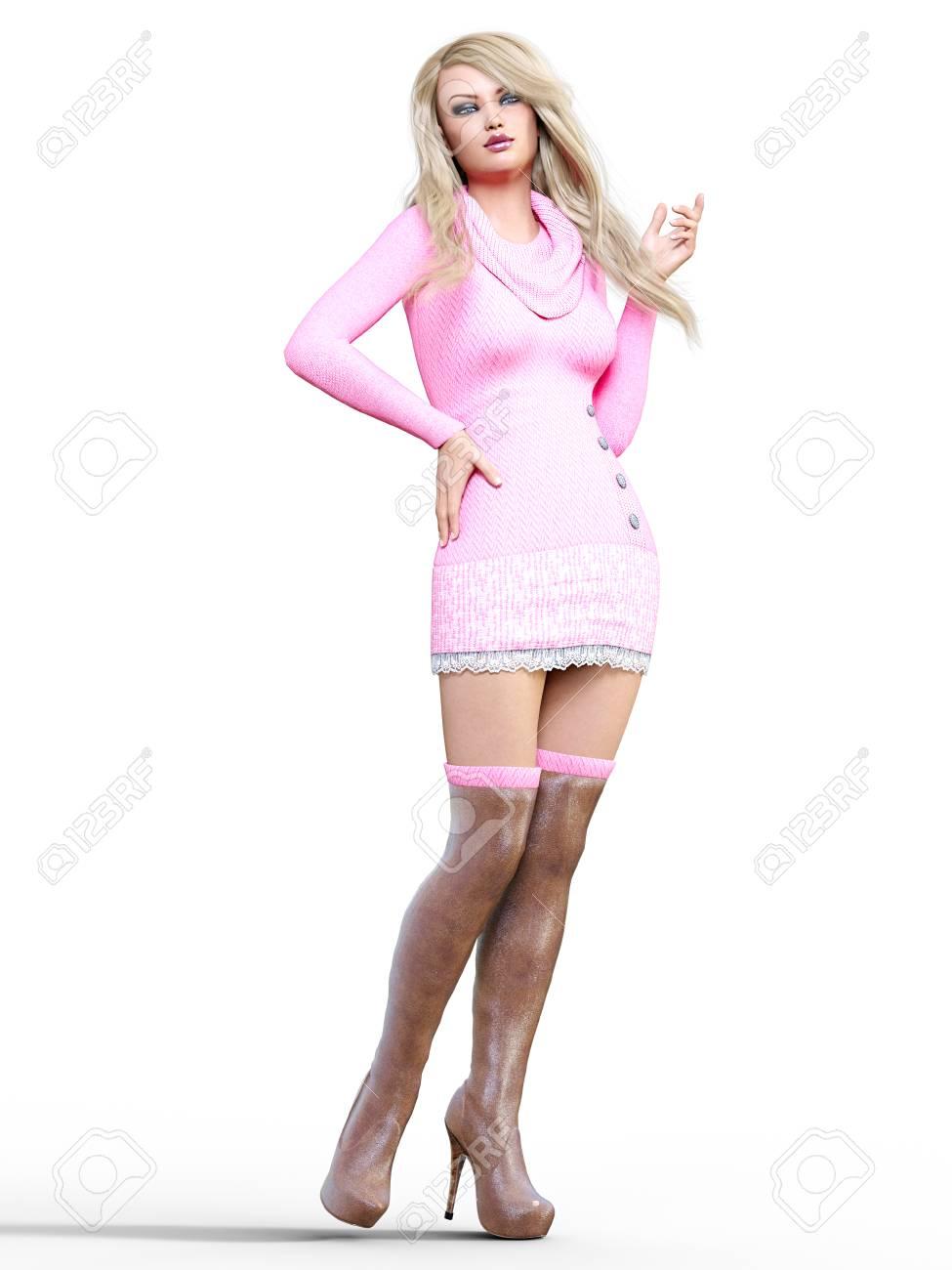 Vestido corto y botas largas