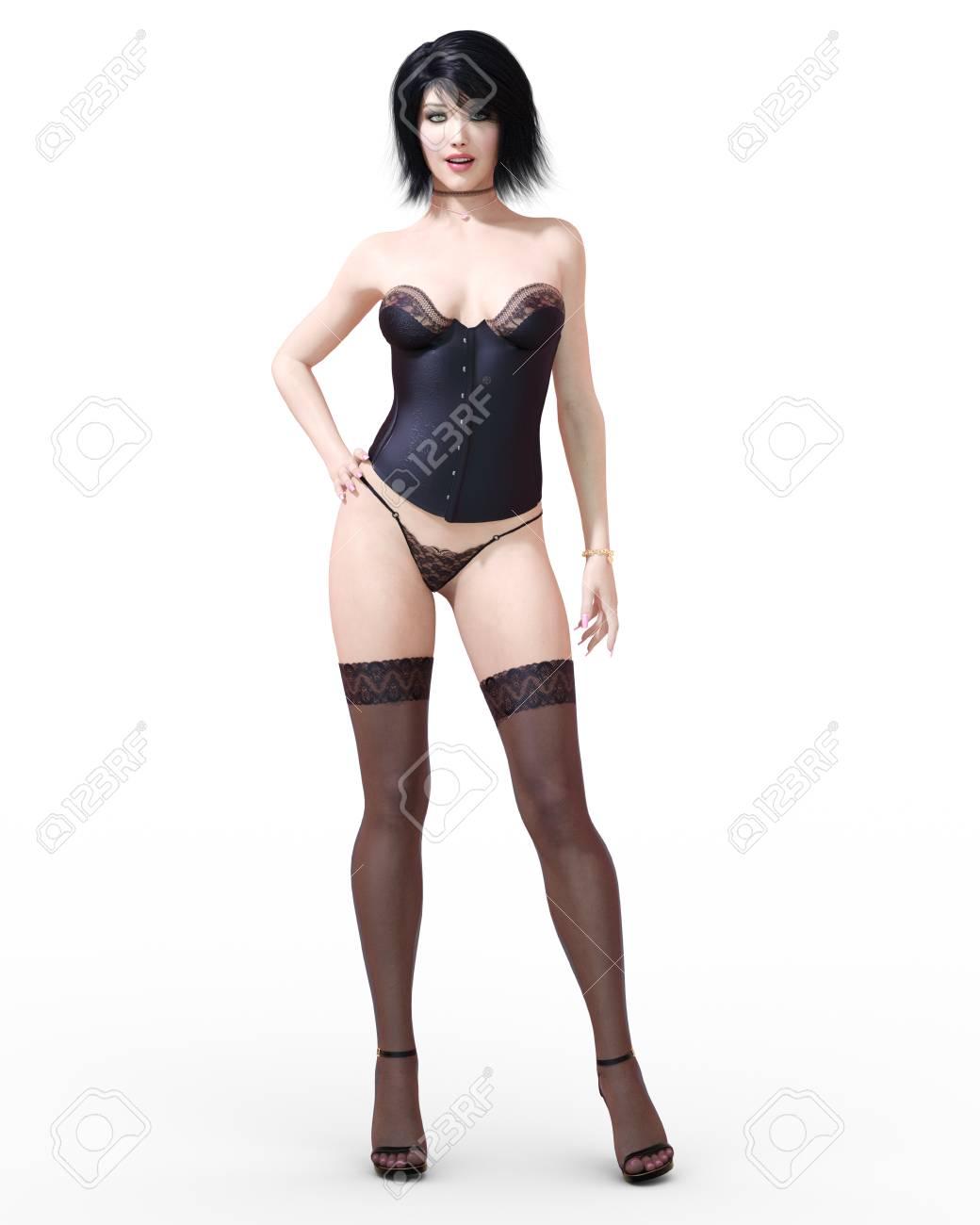 16ad6c5b1 3D Beautiful Brunette Girl In Lingerie