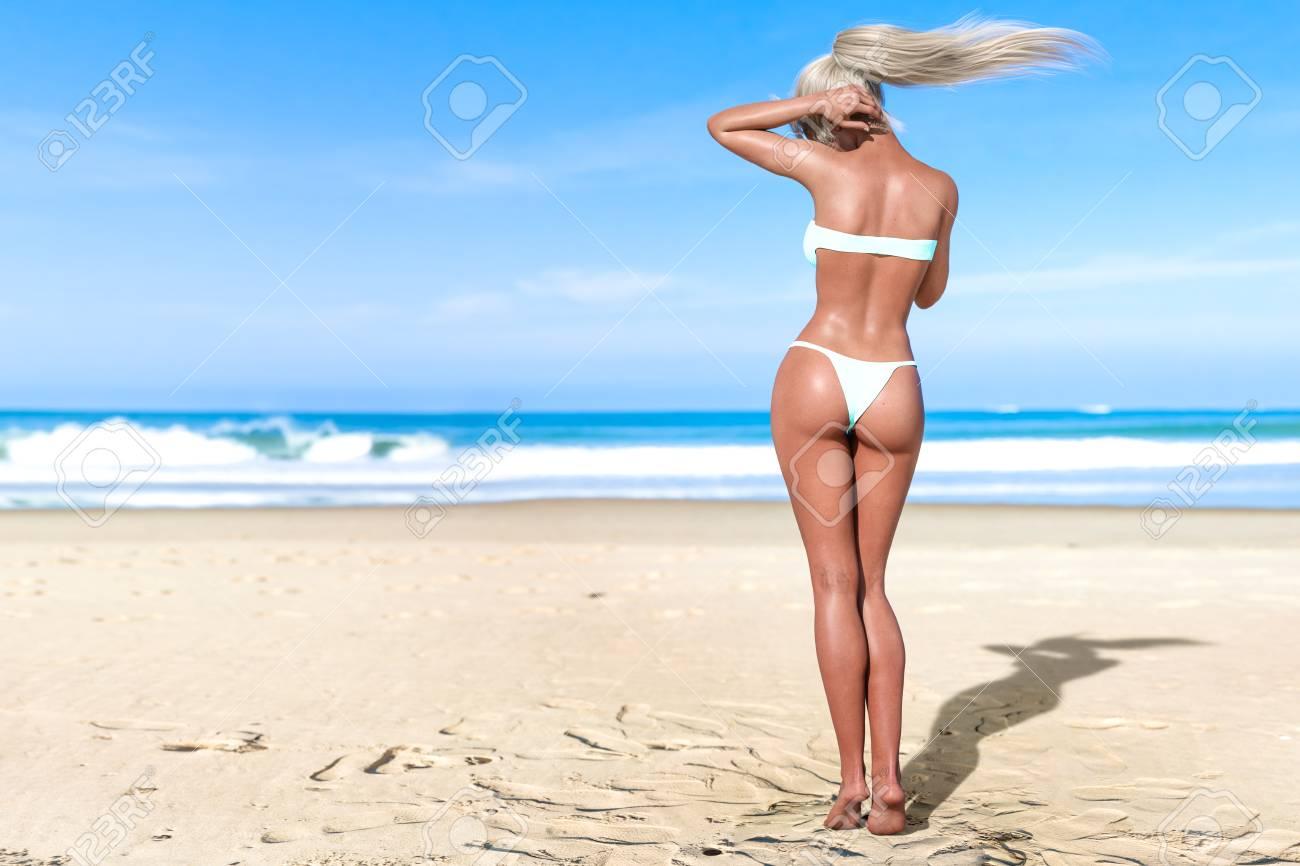 234722a855 3D beautiful sun-tanned woman turquoise swimsuit bikini on sea beach.  Summer rest.