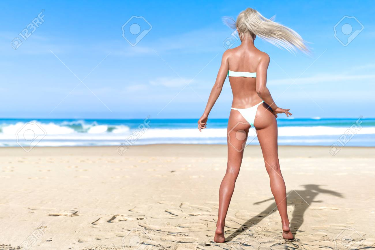9a0d1cb4b3 3D beautiful sun-tanned woman turquoise swimsuit bikini on sea beach.  Summer rest.