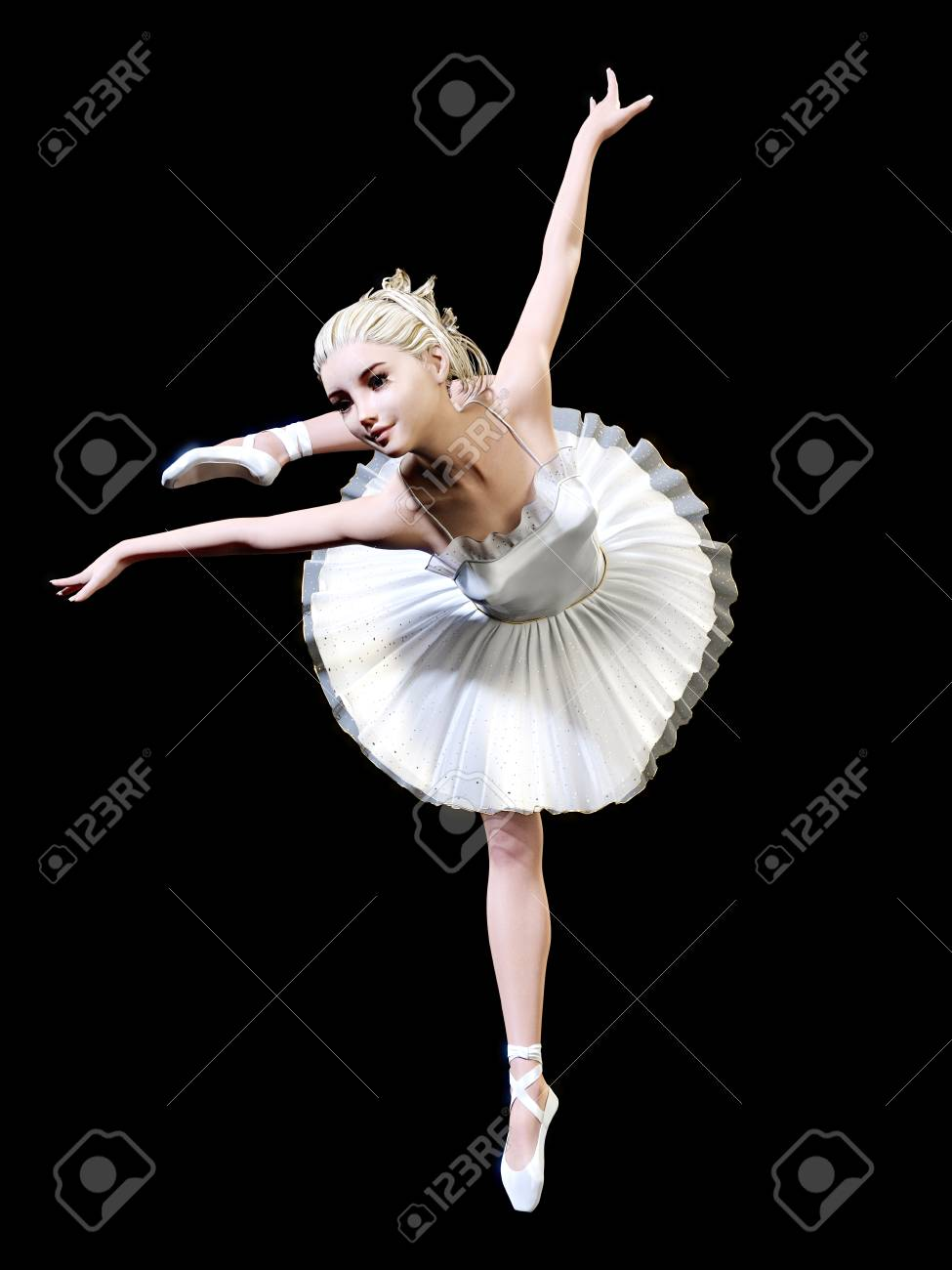 9f40cf2fcd711 Dancing ballerina 3D. White ballet tutu. Blonde girl with blue eyes. Ballet  dancer