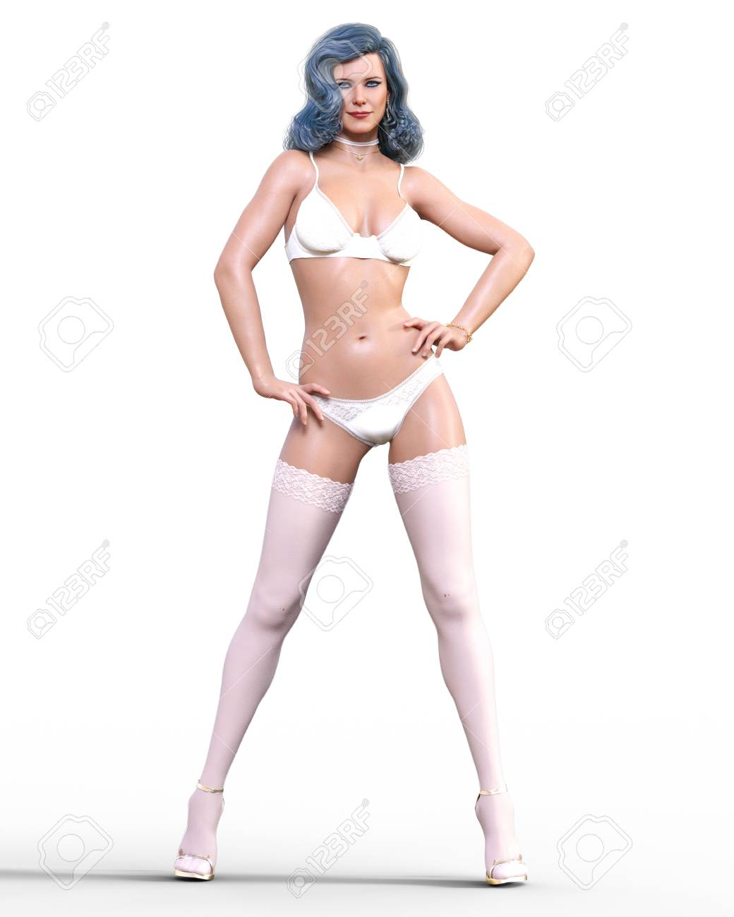 1e45e9810 3D Beautiful brunette girl white lingerie and stockings.Woman studio  photography.High heel.