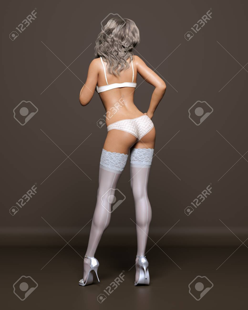 8b5688611 3D Beautiful blonde girl white lingerie and stockings dark background.Woman  studio photography.High