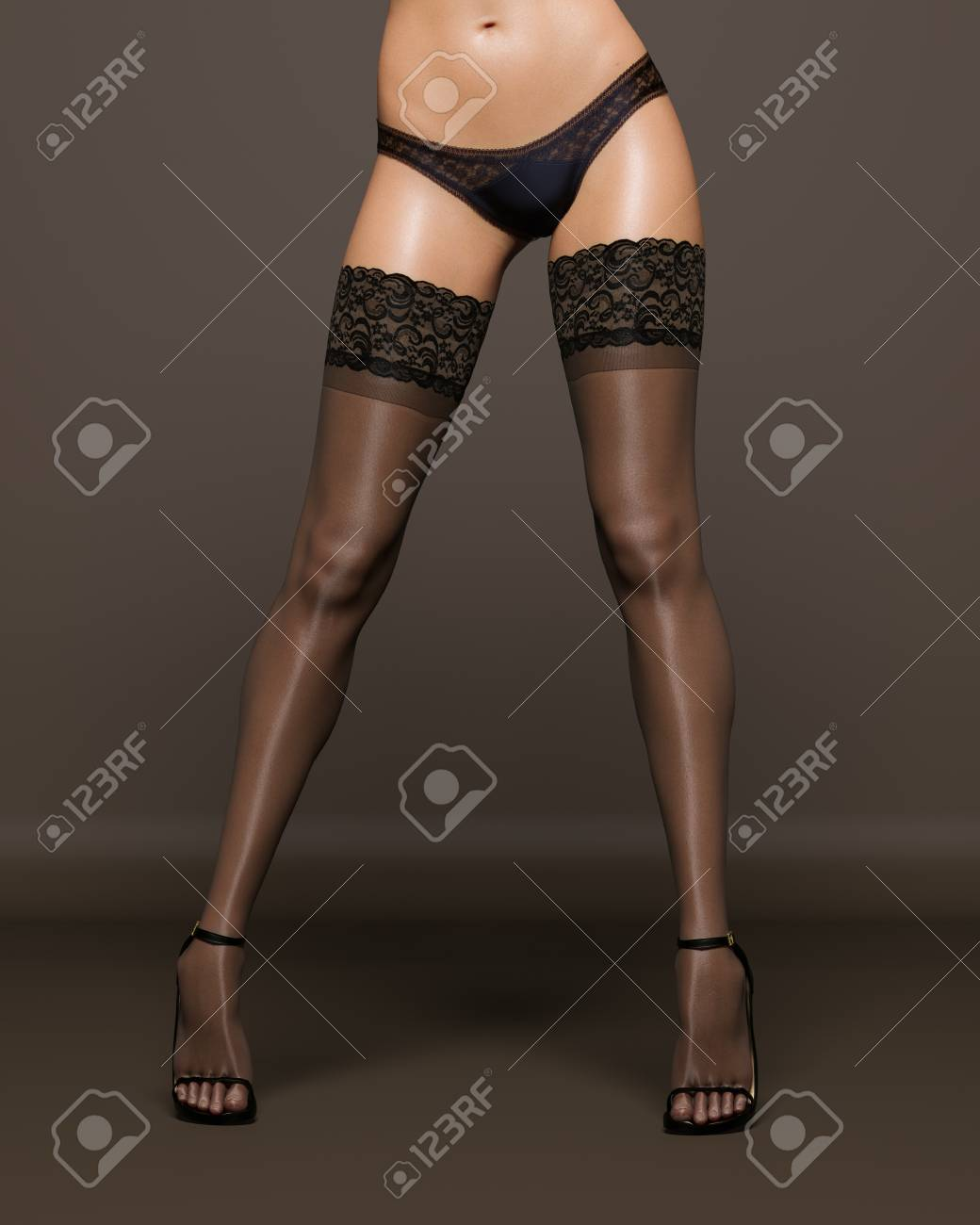 2b320e5fb 3D Beautiful female legs black stockings and panties dark background.Woman  studio photography.High