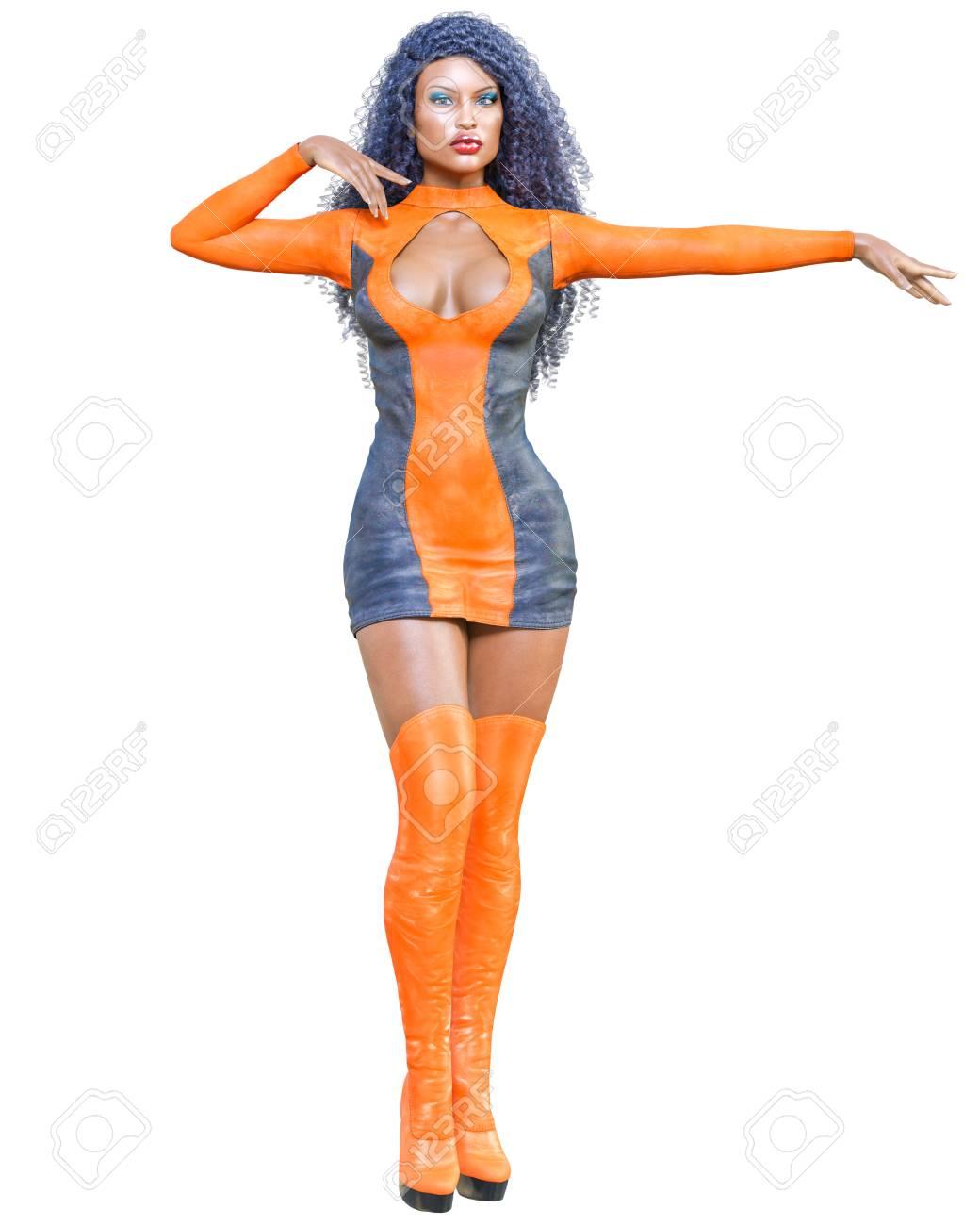 cd6061a2833 3D beautiful woman dress leather mini dress long boots. Suede, chamois,  deerskin,