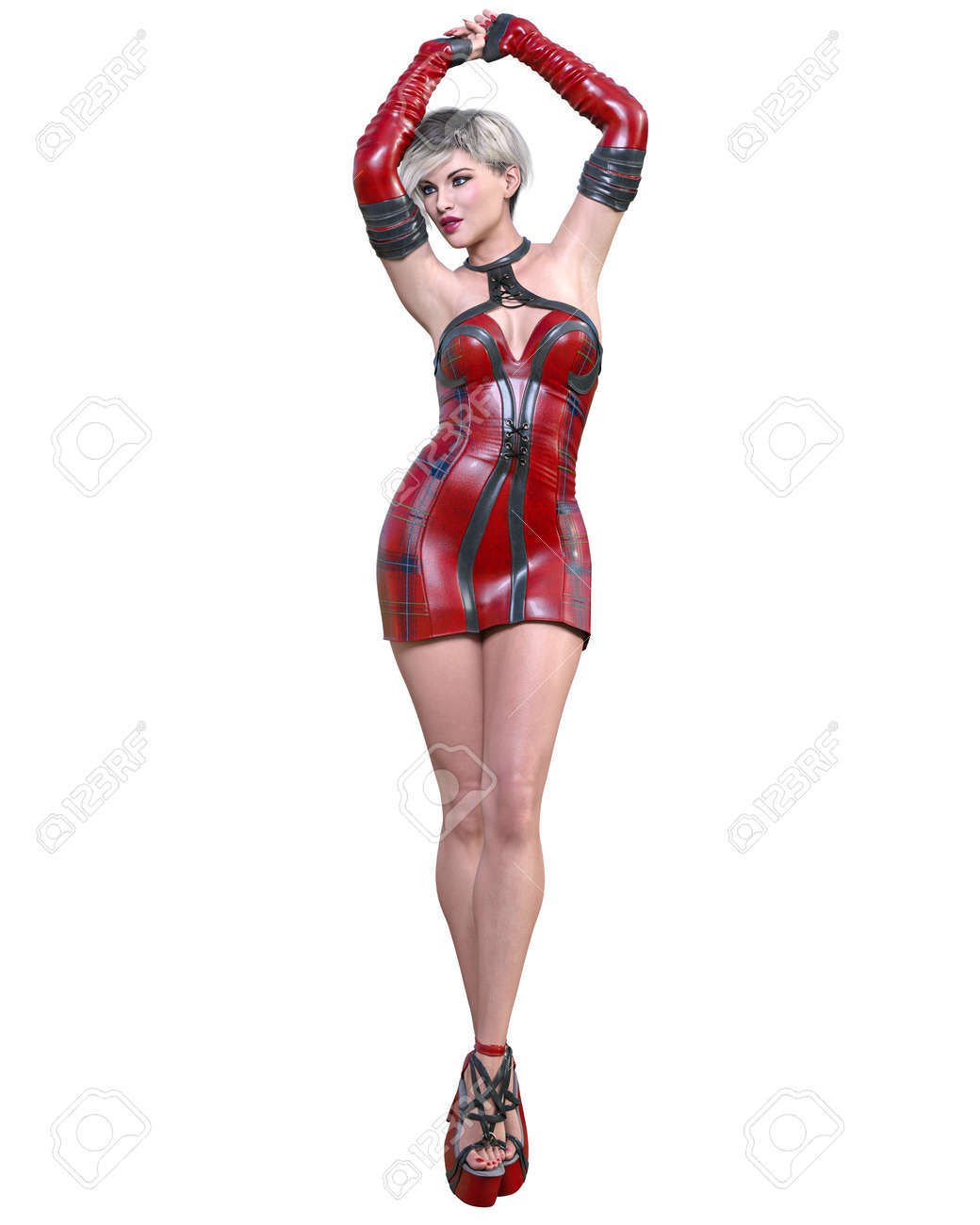 Beautiful woman in short futuristic red leather dress.Summer clothes collection.Bright makeup.Woman studio photography.Conceptual fashion art.Seductive candid pose.Femme fatale.3D Render. - 165356392