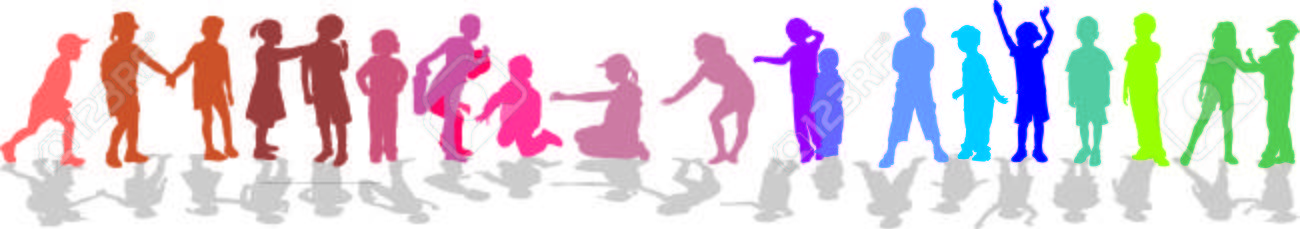Children in line silhouette, color isolated vector Stock Vector - 5087904