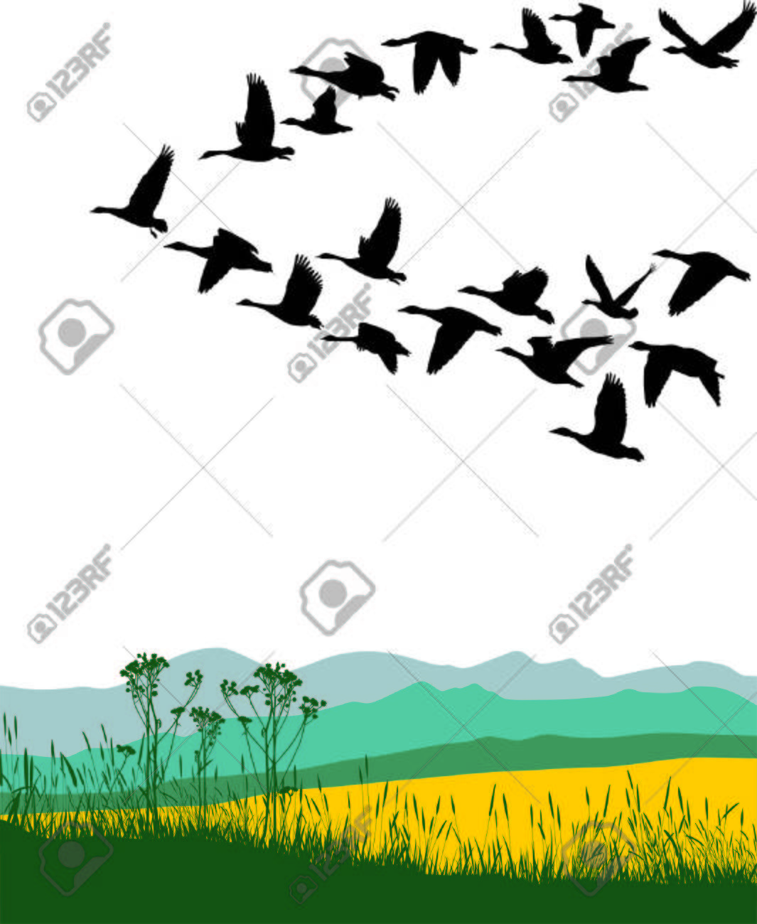 Color illustration of the flying geese - 7233798