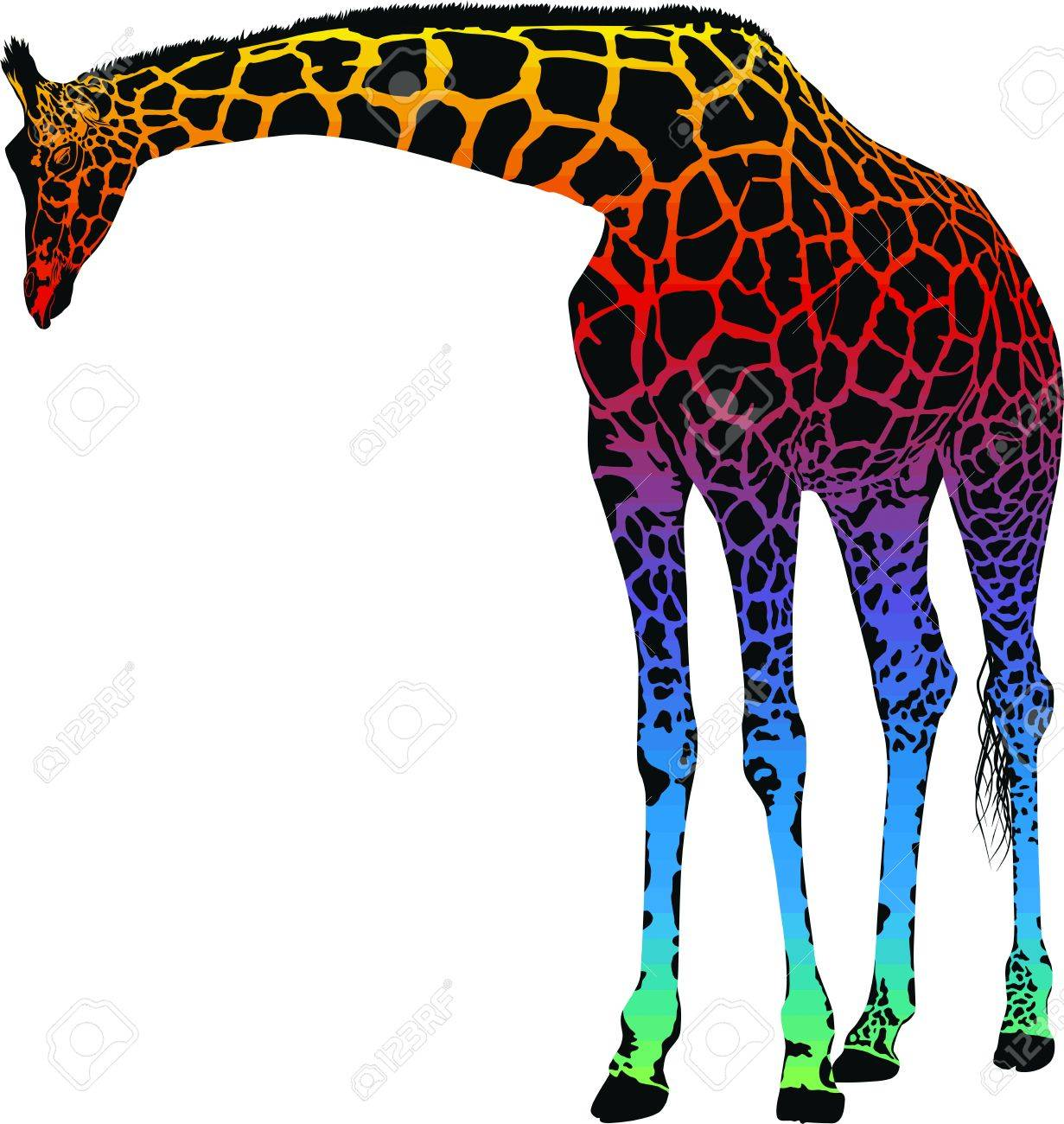 Giraffe with rainbow smokescreen camouflage Stock Vector - 12056954