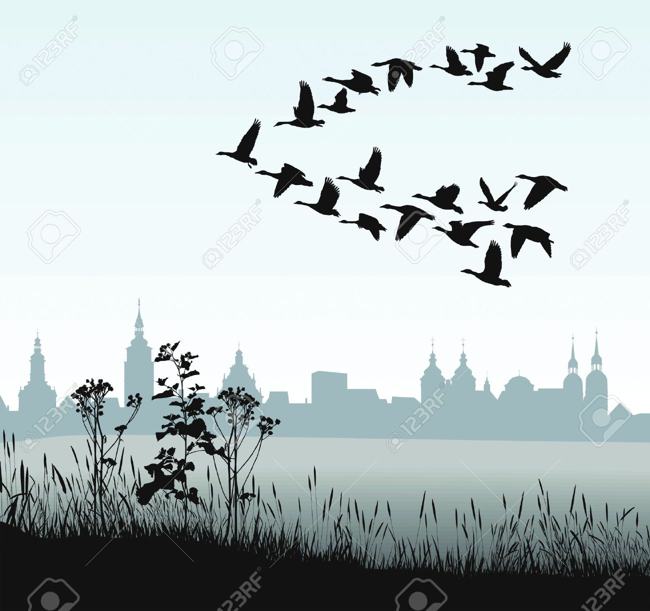 vector illustration of migratory wild goose silhouette of the historic town - 13284917