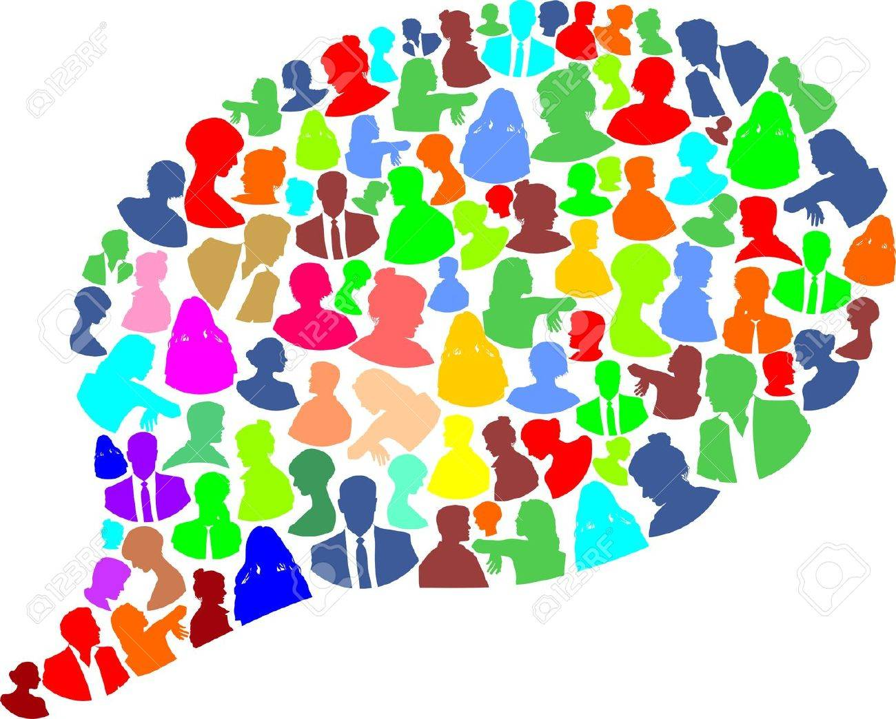 speech bubble with many abstract color woman and man royalty free
