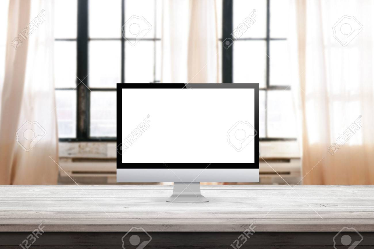 Computer Display On Desk Et Home Office Interior With Windows
