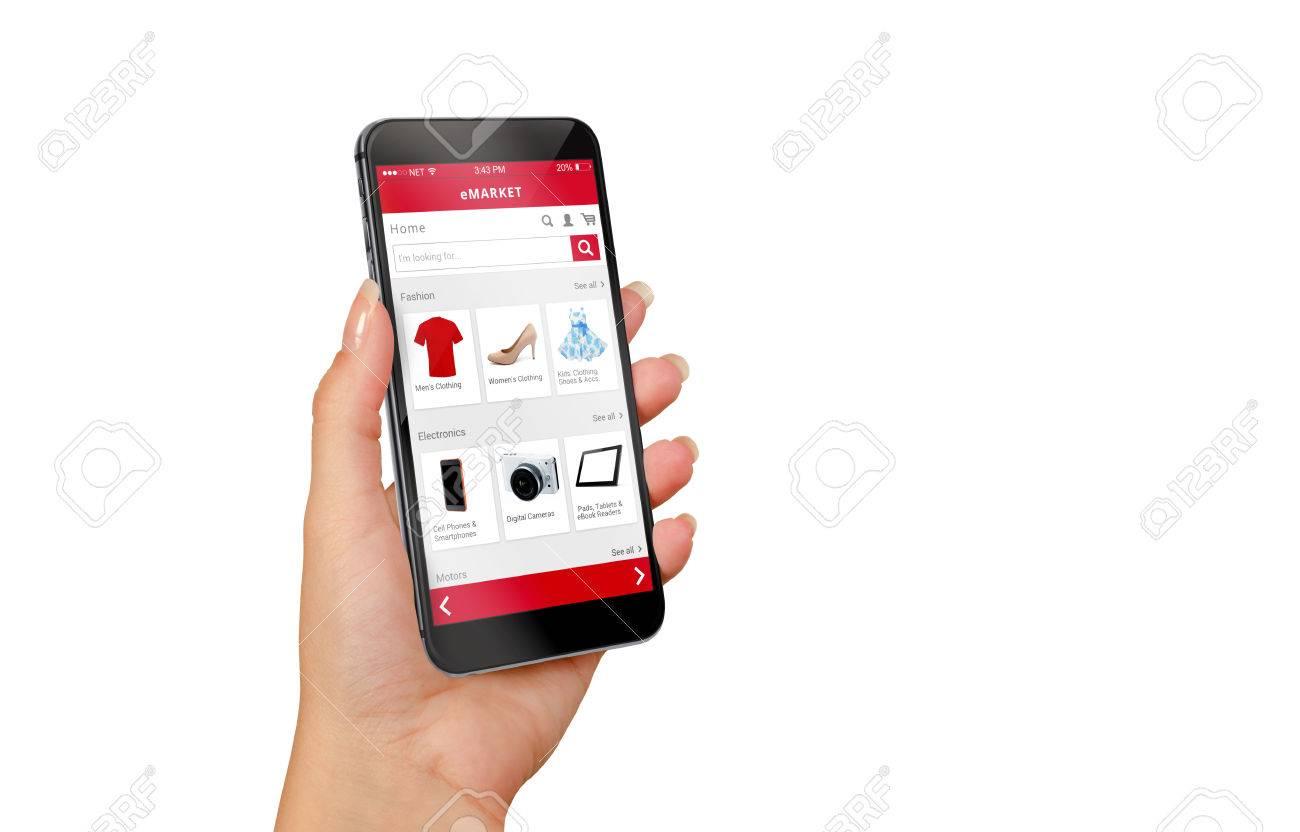 555fc18f7309f1 Slimme telefoon online winkelen in vrouw hand geïsoleerd. Kleren kopen  schoenen accessoires met e-