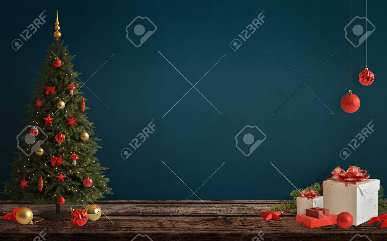 Christmas Scene With Tree And Decorations Lights Ornaments Balls Gifts Free