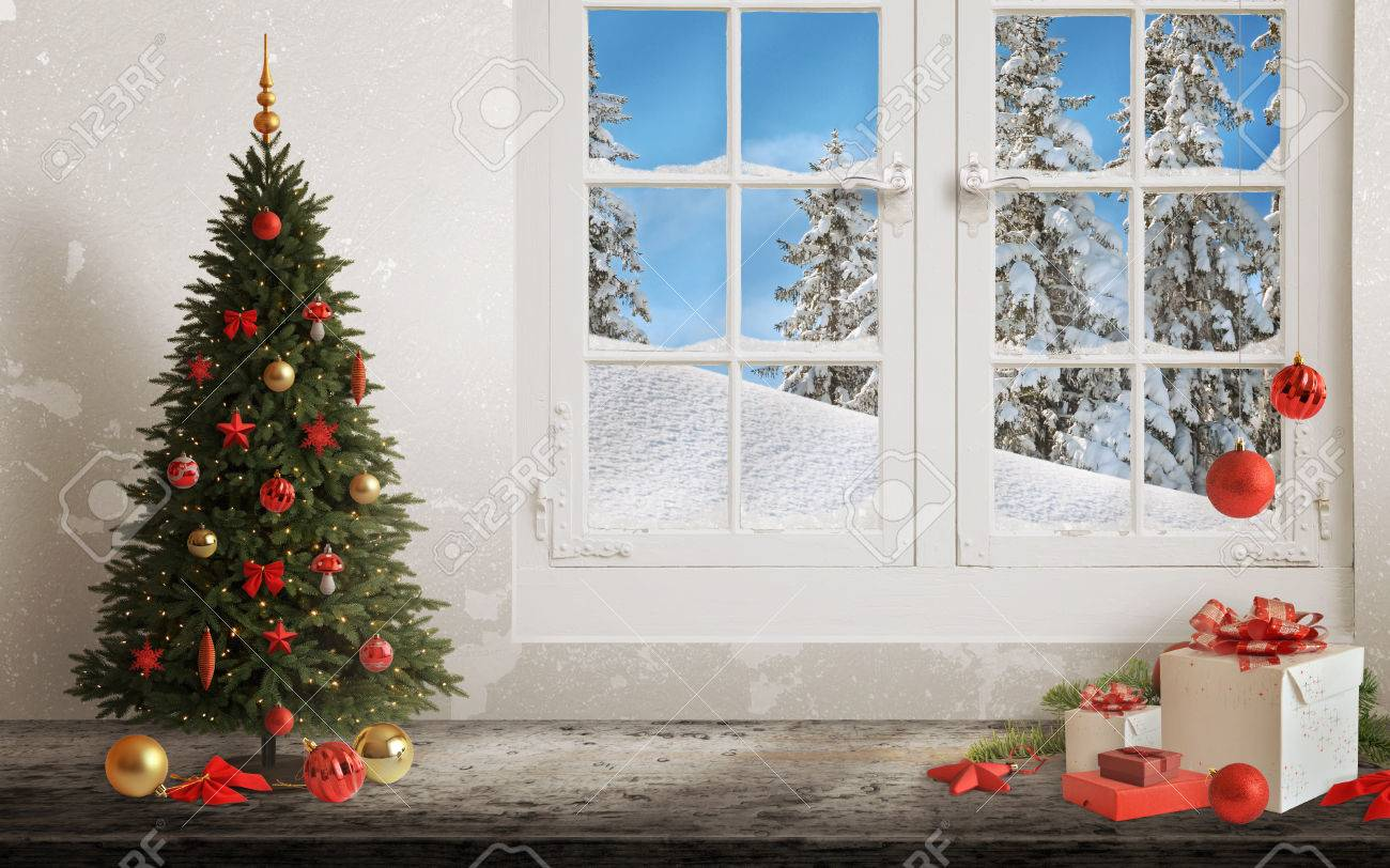 Christmas Window.Christmas Scene With Tree And Decorations Lights Ornaments