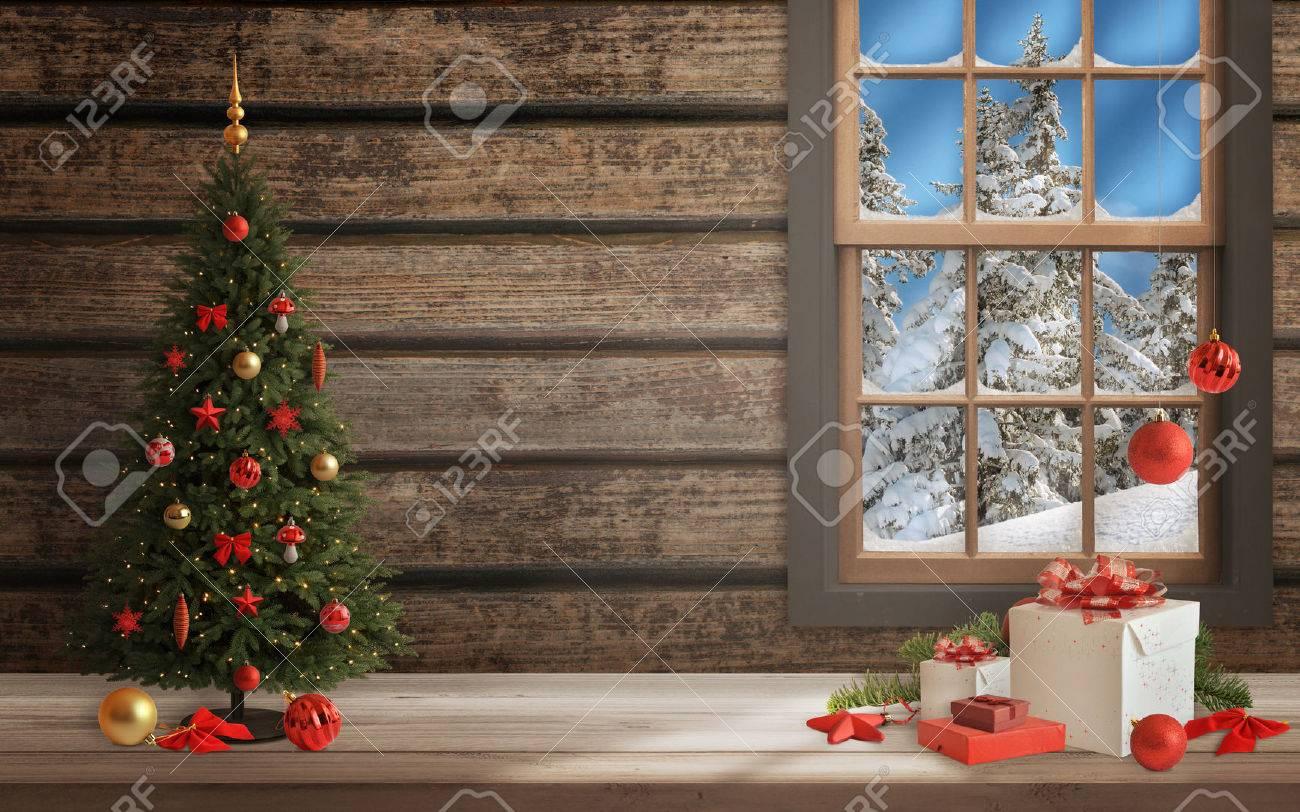 Weihnachtsszene Mit Baum Und Dekorationen, Lichter, Ornamente, Bälle ...