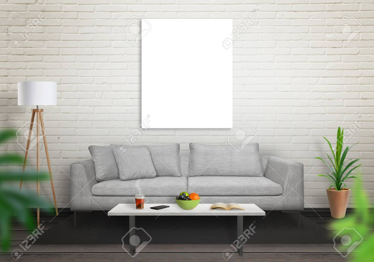Isolated Art Canvas In Living Room For Mockup. Brick White Wall ...
