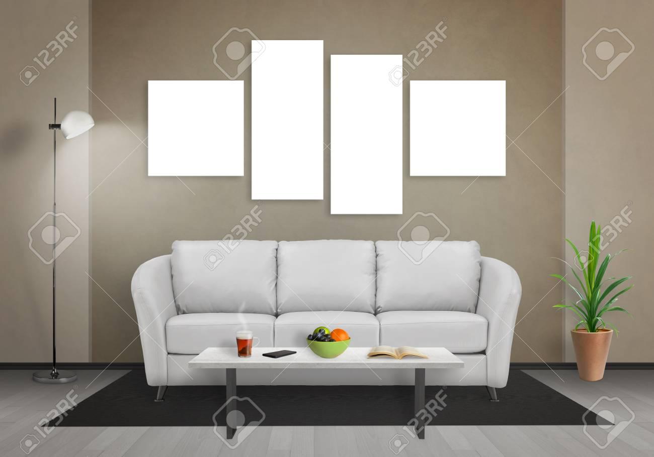 Woonkamer Met Kunst : Vier geïsoleerde kunst doek in de woonkamer voor mockup. bank tafel