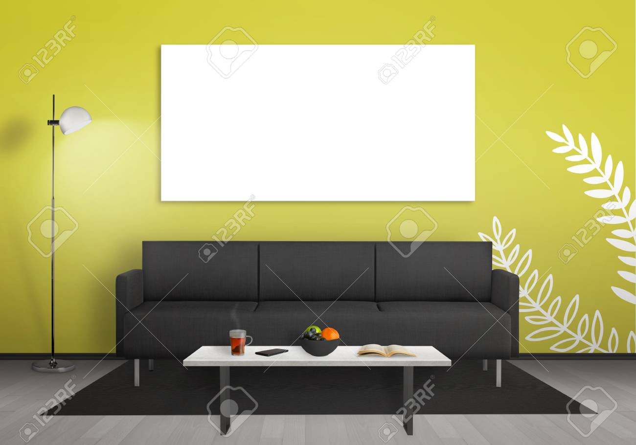Isolated Wall Art Canvas Wall. Living Room Interior With Sofa ...