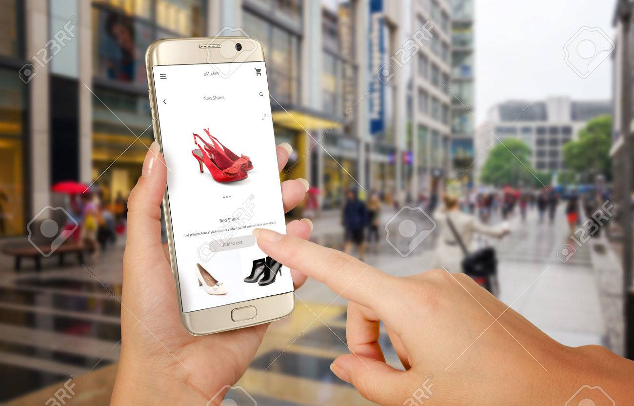 Online Shopping With Smart Phone. Phone In Woman Hand. Buying ...