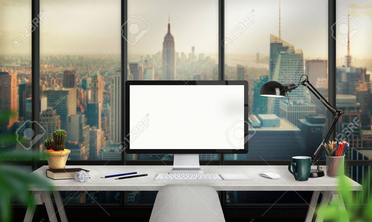 Isolated Computer Display For Mockup. Office Interior With Lamp ...