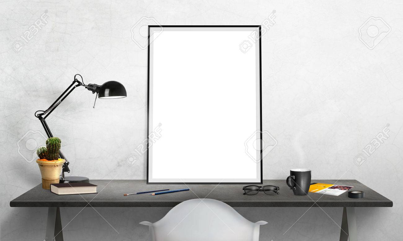 Isolated Poster Frame On Office Desk For Mockup. Lamp, Cactus, Pencils,  Glasses