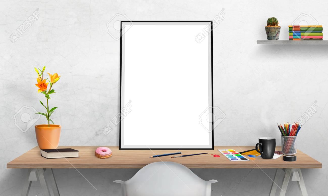 Cadre D Affiche Isole Sur Bureau Pour Mockup Couleurs De L Eau Des Crayons Des Verres Des Fleurs Tasse De Cafe Sur La Table Plateau De Cactus Et