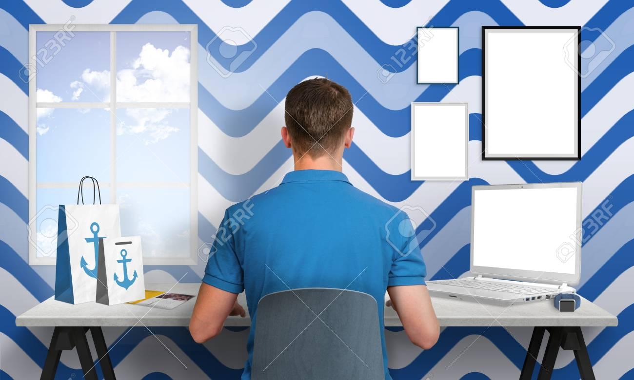 El Trabajo En La Oficina Hombre Blanco Azul. Portátiles Y Marcos De ...