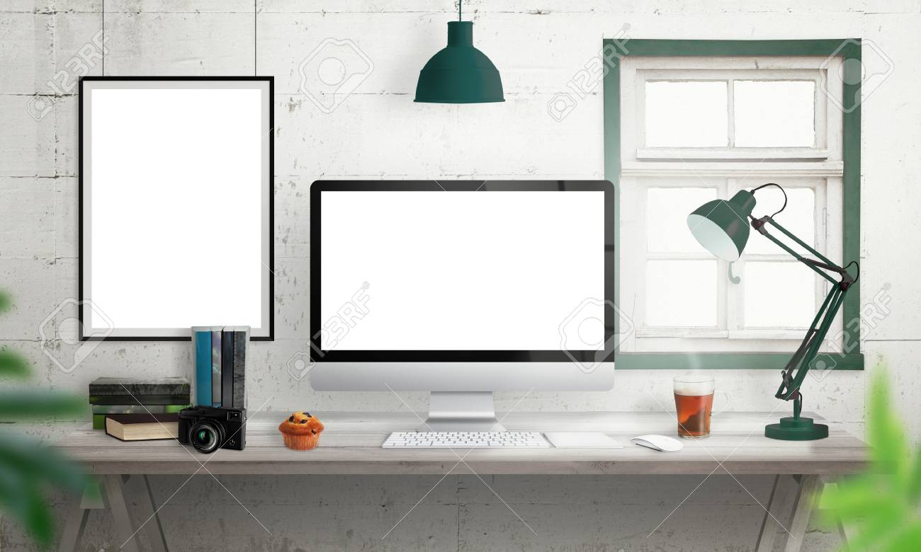 Fine Computer Display On Office Desk Isolated White Screen For Mockup Interior Design Ideas Clesiryabchikinfo