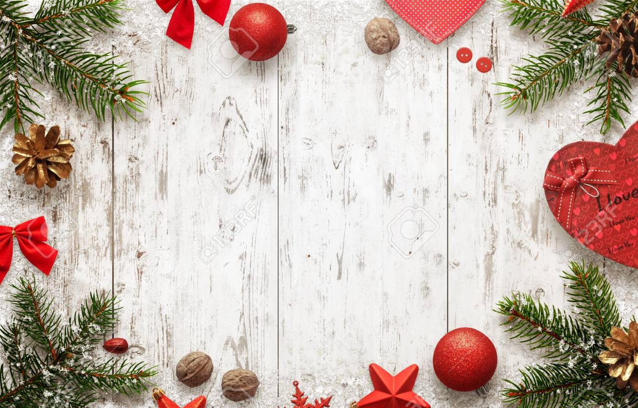 Christmas Top View.White Wooden Table With Christmas Tree And Decorations Top View