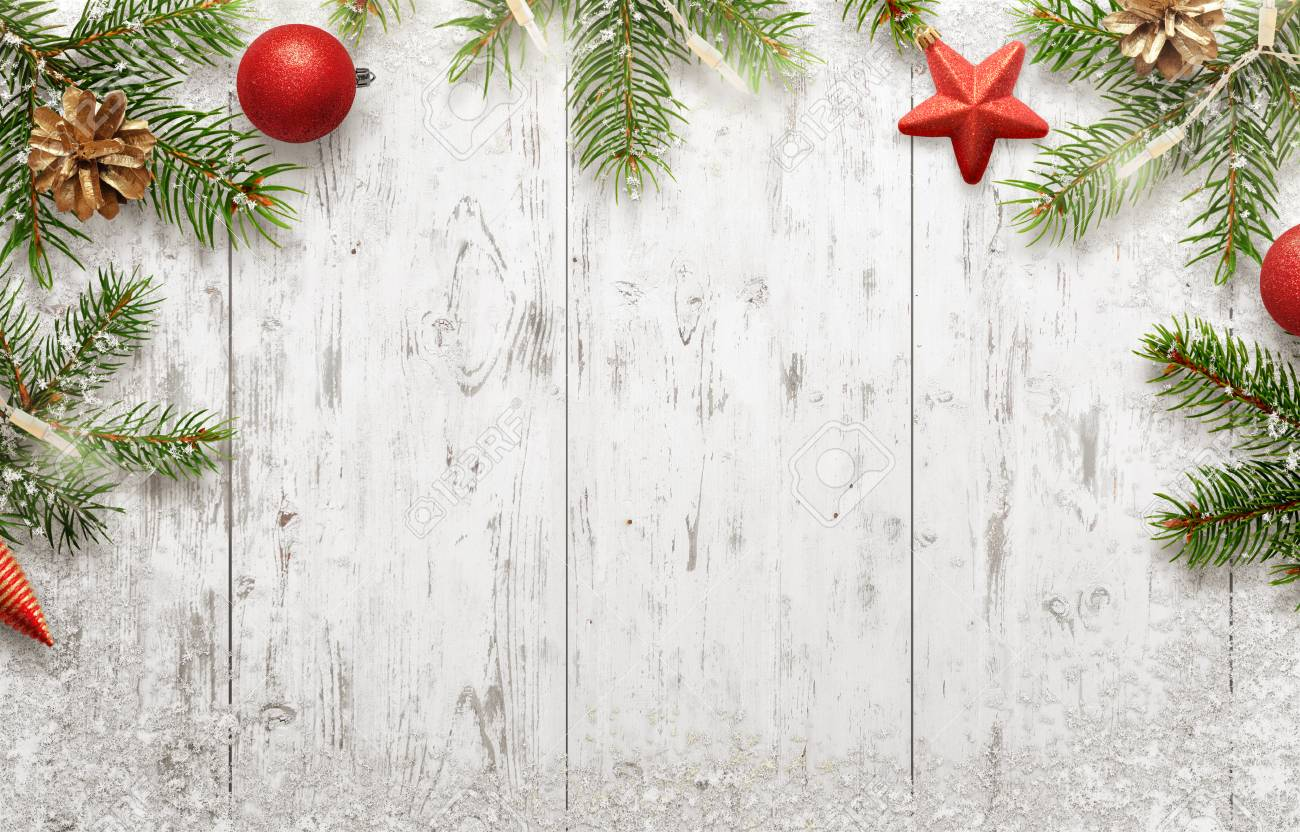 White Christmas background with tree and decorations. Lights,..