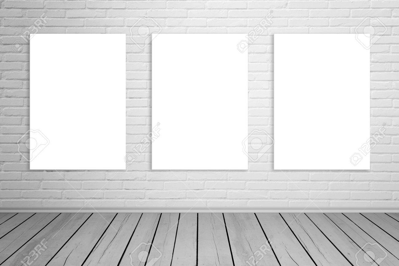 Three Isolated Art Canvas On Brick Wall For Mockup Empty Gallery