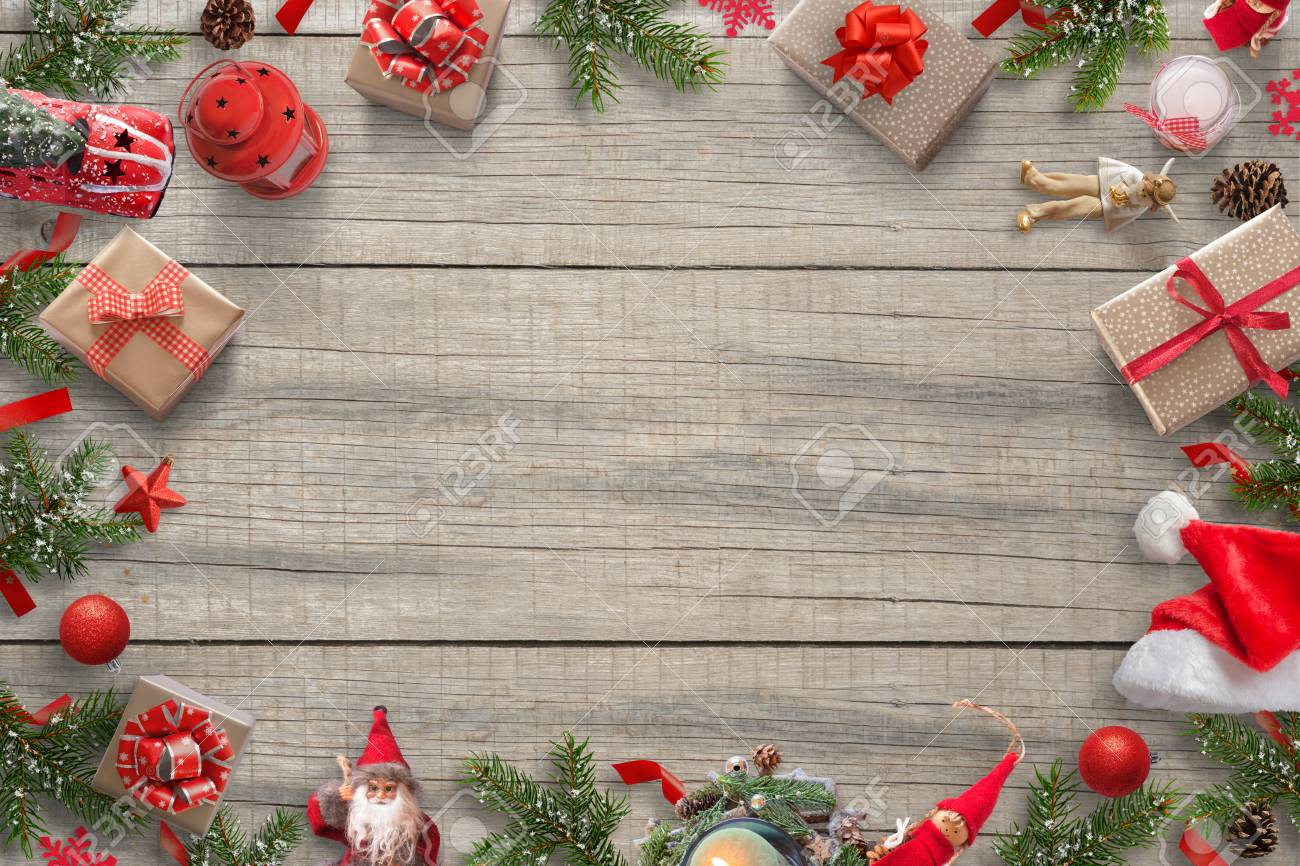 Christmas Decorations Background Image With Free Space For Greeting ...