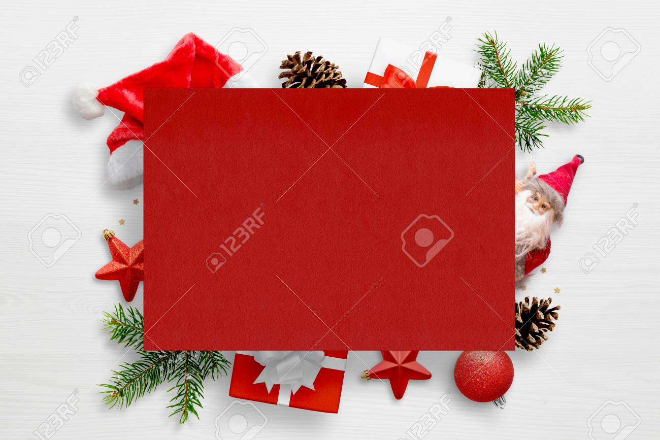 Red Greeting Card Paper With New Year And Christmas Decorations