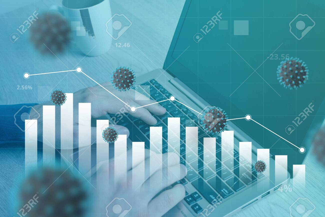Coronavirus affects the decline of the world economy. Concept of working and analyzing data on a computer. Stock graph fall - 144145367