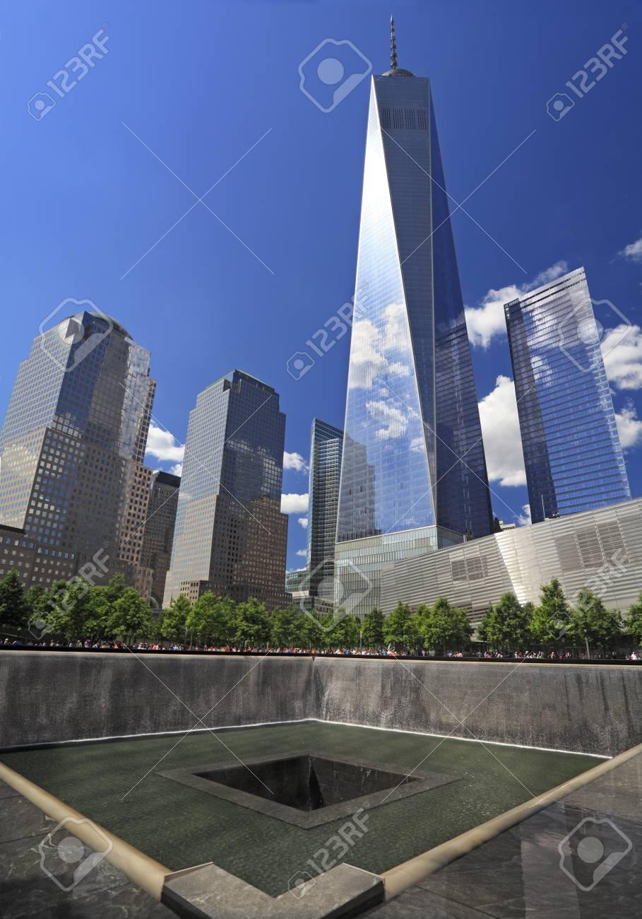 One World Trade Center and memorial fountain, New York City