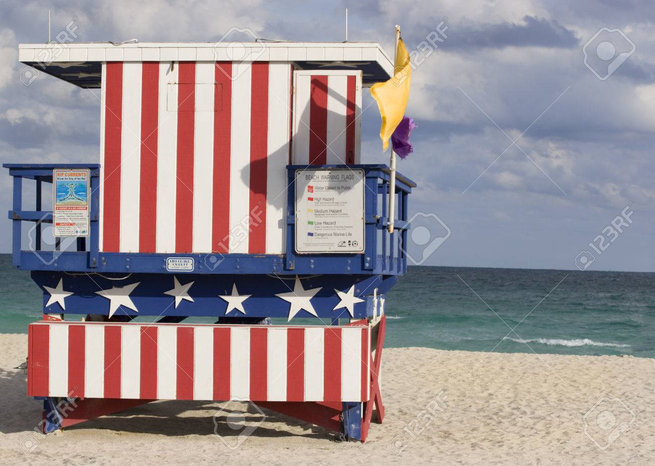Famous lifesaver hut with the colors of the American flag Miami