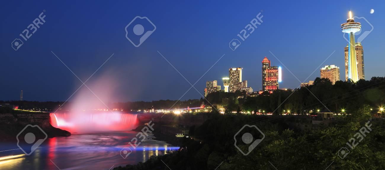Niagara Falls Skyline Illuminated At Night Ontario Canada