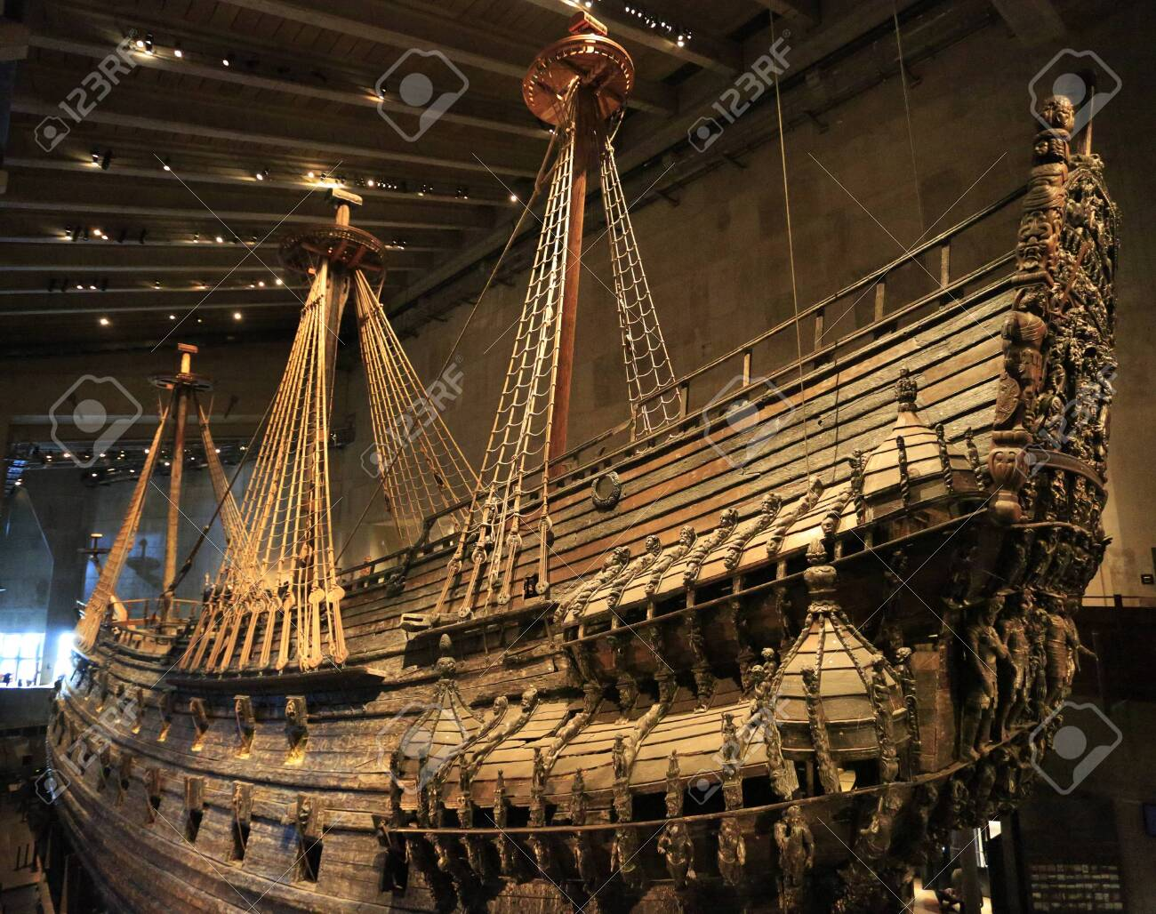 The Vasa Museum in Stockholm, Sweden displays the Vasa, a fully recovered 17th century ship - 131403608