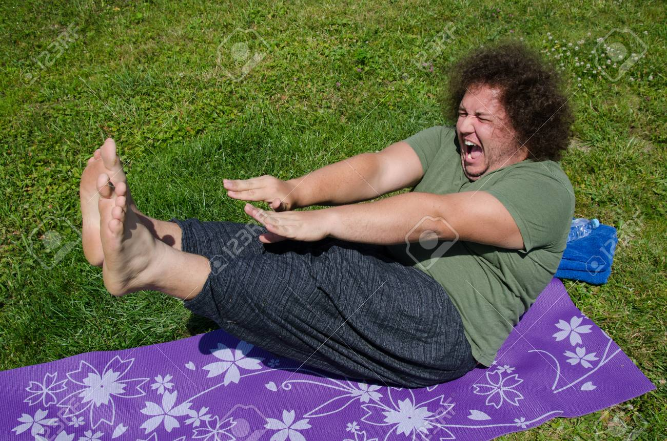 Funny Fat Man And Yoga Stock Photo