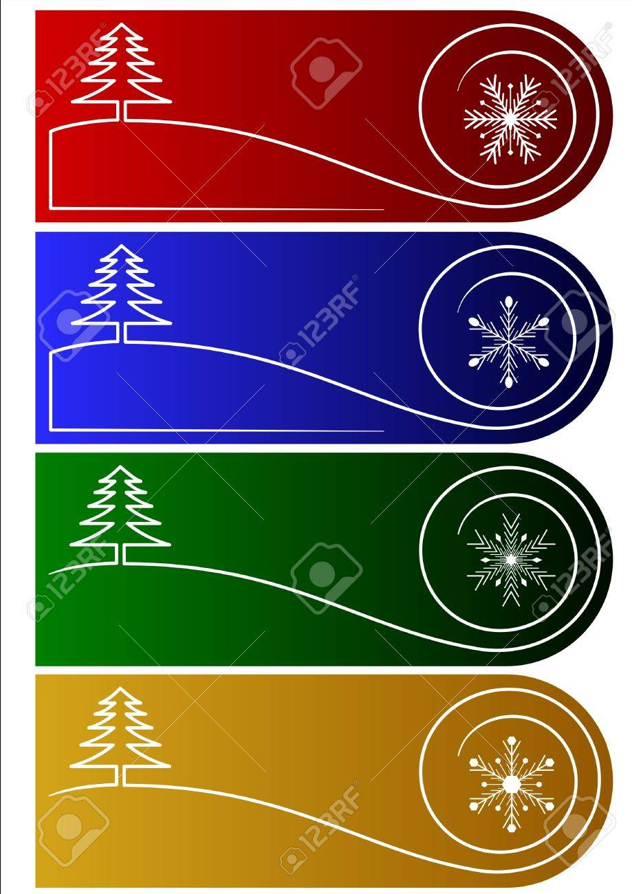 Collection of 4 vector christmas greetings or tags Stock Vector - 3804129