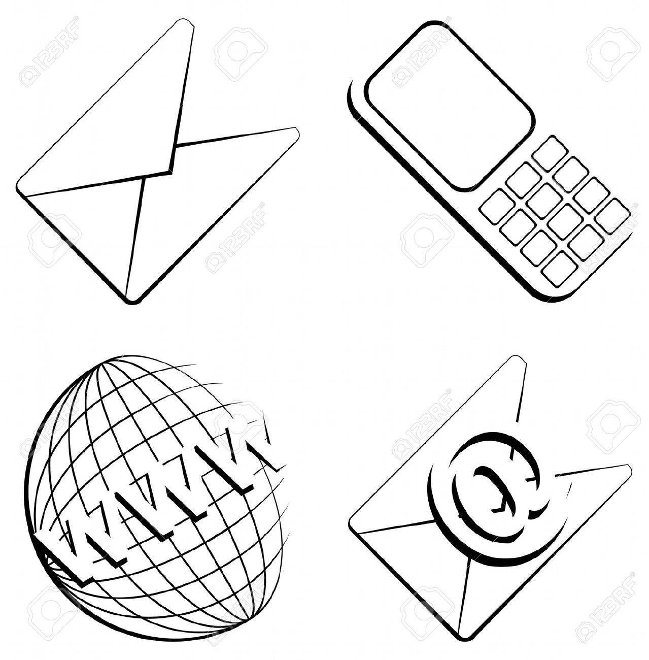 web contact icons from contour objects on isolated white background - vector Stock Vector - 8600977
