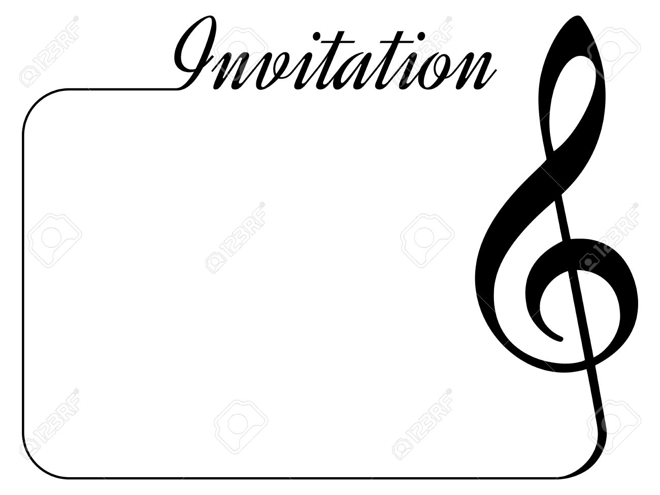 invitation card for music performance or concert isolated template with treble clef border and