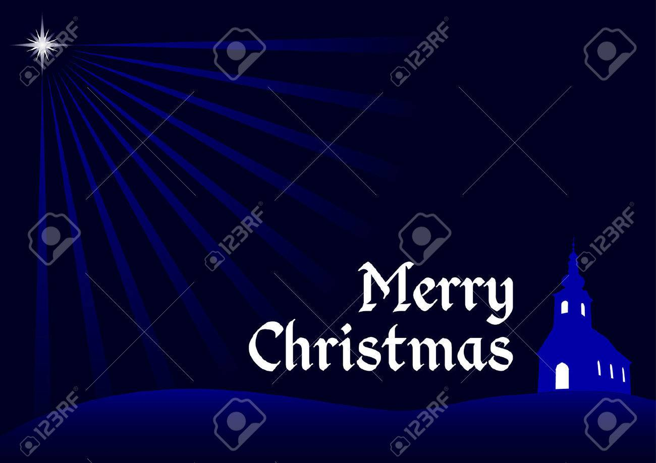 Christmas Background Vector Christmas Greeting Card With Silhouette