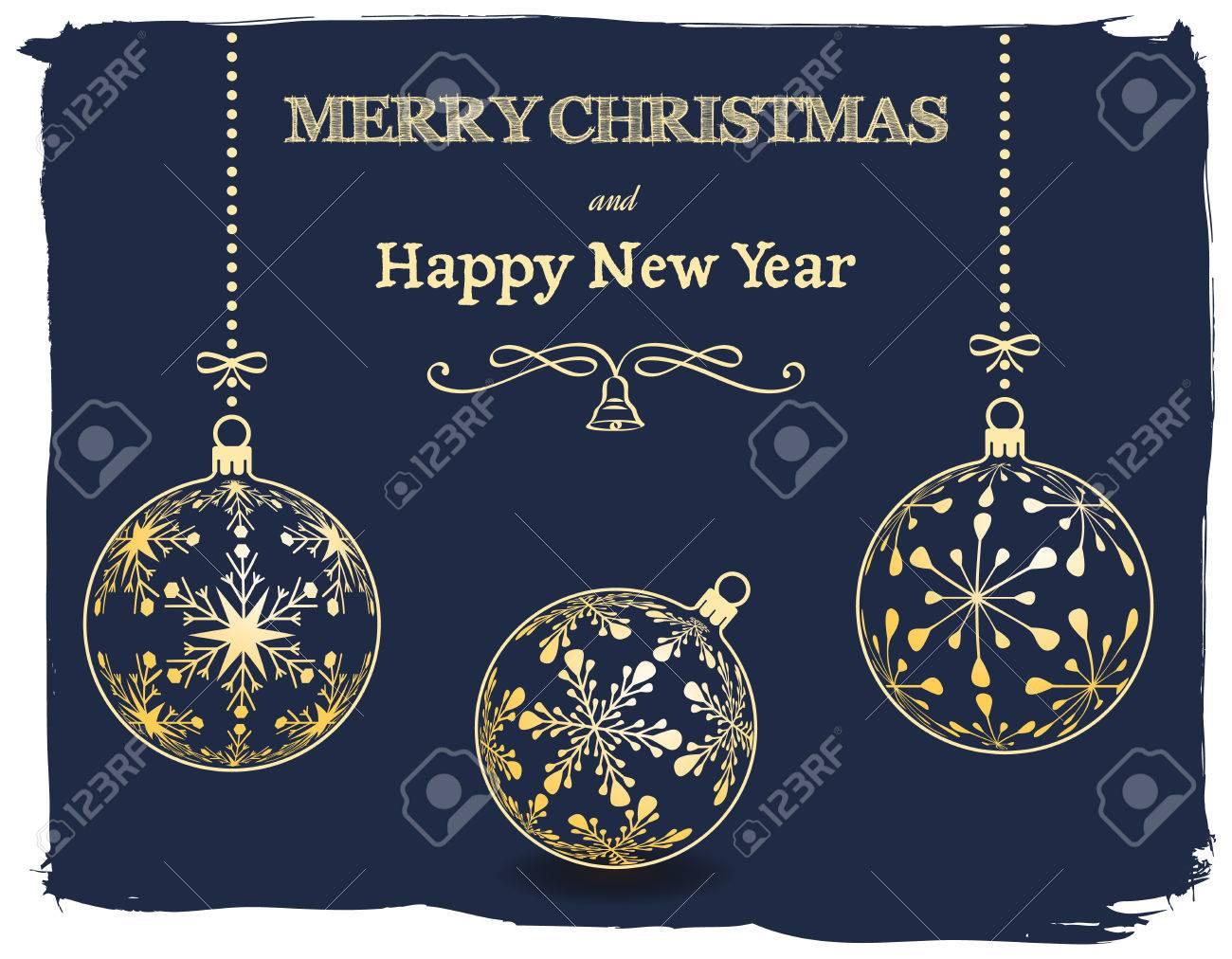 Vrolijk Kerstfeest En Gelukkig Nieuwjaar Donkerblauw Wenskaart