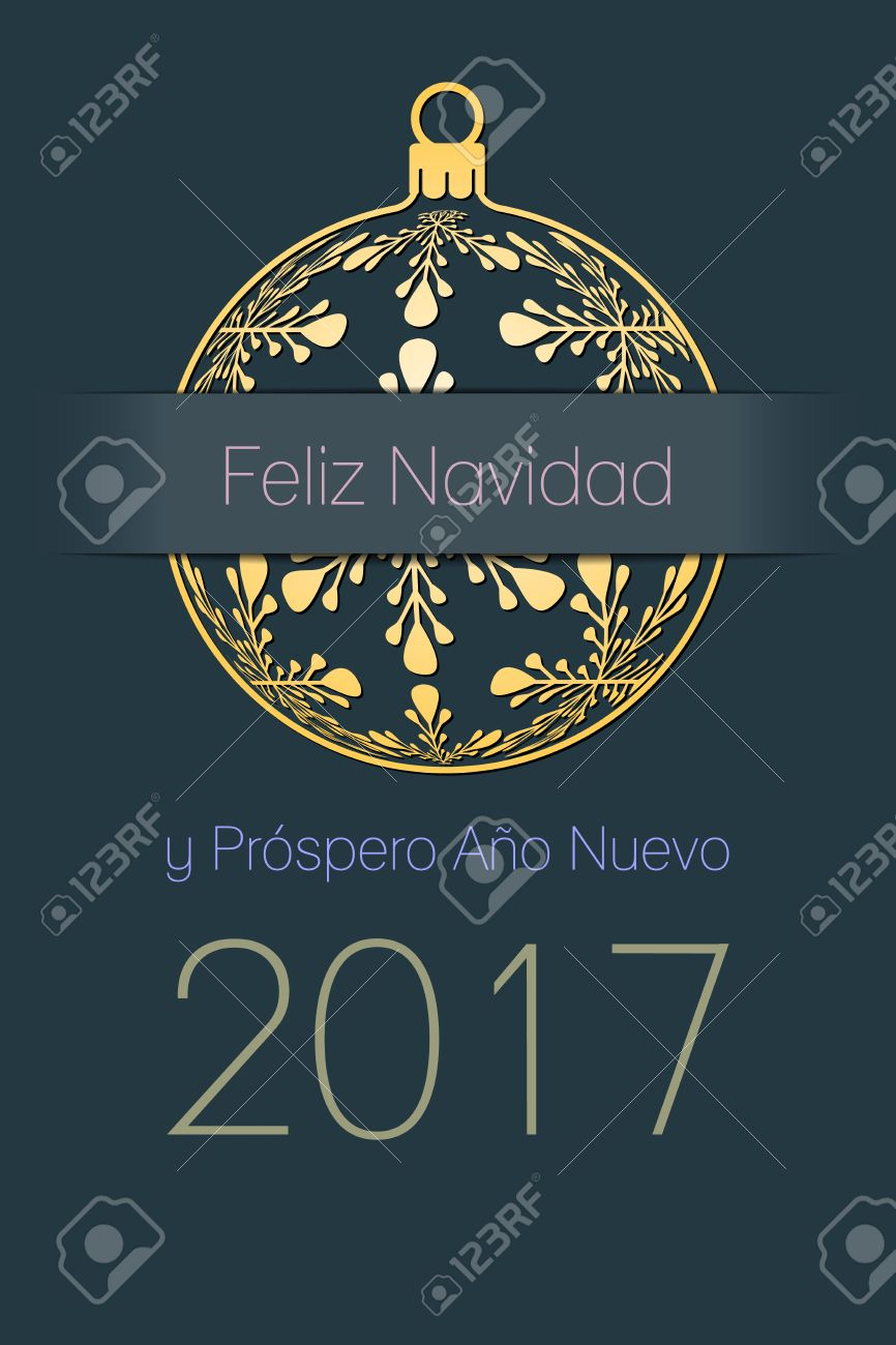 Spanisch Frohe Weihnachten Und Happy New Year 2017 Elegante